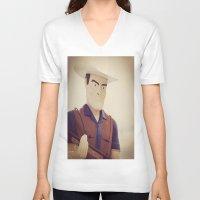 cowboy V-neck T-shirts featuring Cowboy by Natasha N. Walker