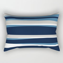 Striped Modern Beach Landscape Blue Grey Rectangular Pillow