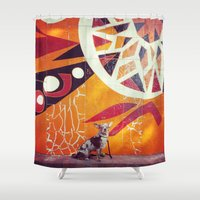 artsy Shower Curtains featuring Artsy Dog by Coconuts & Shrimps