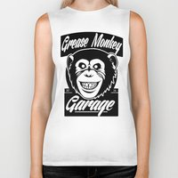grease Biker Tanks featuring Grease Monkey Garage by Broenner