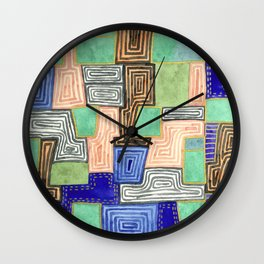 Complex Pattern with Golden Lines Wall Clock
