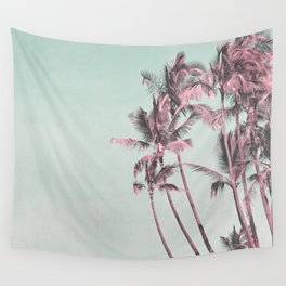 Tropical Palm Trees In Surreal Pink Wall Tapestry