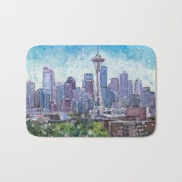 Seattle Washington City Scape First Snow Of The Season Bath Mat