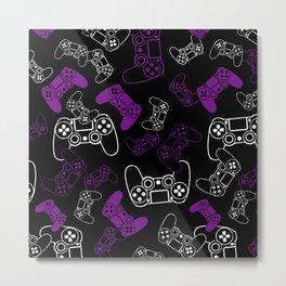 Video Games Purple on Black Metal Print