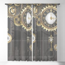 Antique Clock with Keys ( Steampunk ) Sheer Curtain
