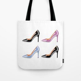 High heel shoes in black, serenity blue and bodacious pink Tote Bag