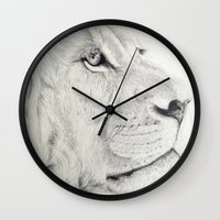 leo Wall Clocks featuring Leo by Polina Kovaleva
