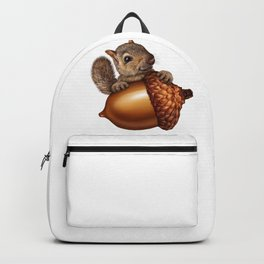 Funny Squirrel Holding An oak tree Acorn Backpack