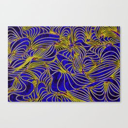 Curves in Yellow & Royal Blue Canvas Print