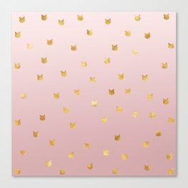 Gold Cats Blush Pink Ombre Canvas Print