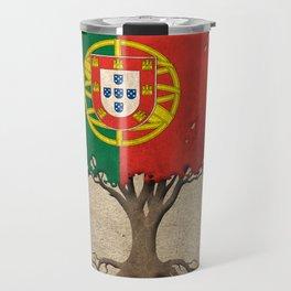 Vintage Tree of Life with Flag of Portugal Travel Mug