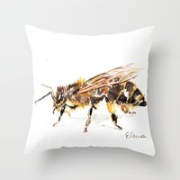 bee Throw Pillows featuring Bee by Elena Sandovici