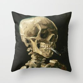 Van Gogh Head of a skeleton with a burning cigarette Throw Pillow