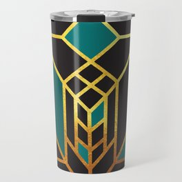 Art Deco Leaving A Puzzle In Turquoise Travel Mug