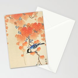 Colorful bird sitting on a tree branch - Japanese vintage woodblock print art  Stationery Cards