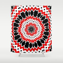Bizarre Red Black and White Pattern Shower Curtain