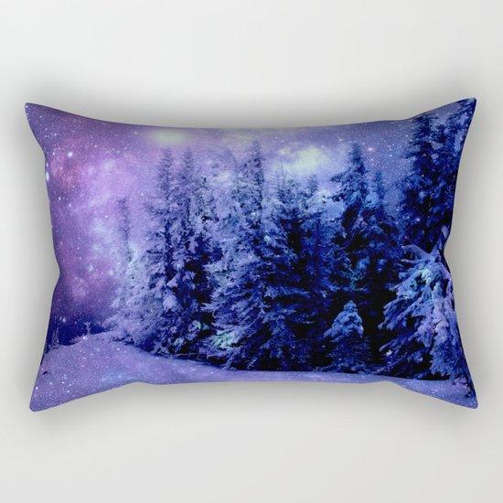 Galaxy Winter Forest Lavender Purple Blue Rectangular Pillow