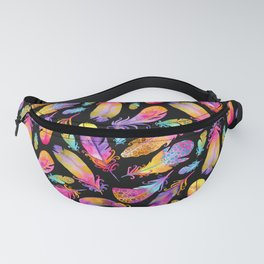 Sunset Feathers in Watercolour - Black Fanny Pack