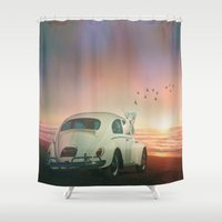 never stop exploring Shower Curtains featuring NEVER STOP EXPLORING A SUNDOWN by Monika Strigel