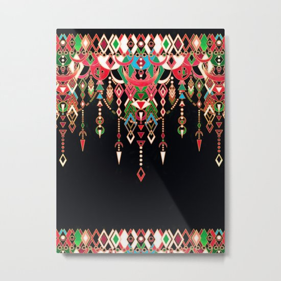 Modern Deco in Red and Black Metal Print