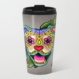 Smiling Pit Bull in Fawn - Day of the Dead Pitbull Sugar Skull Metal Travel Mug