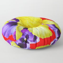 RED COLOR YELLOW-PURPLE PANSY ART Floor Pillow
