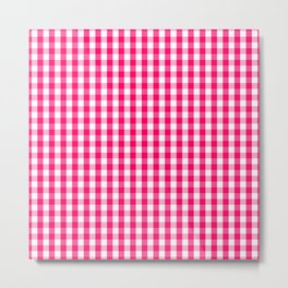 Hot Neon Pink and White Gingham Check Metal Print