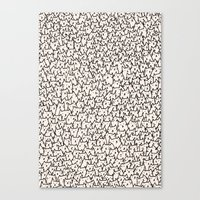gray pattern Canvas Prints featuring A Lot of Cats by Kitten Rain