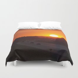 Sunset Over Yellowhead Hwy, West Duvet Cover