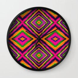Rainbow Painted God's Eye - Pink Wall Clock