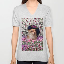 Chi Chi in Purple, Red, Pink, White Flowers, Chihuahua Puppy Dog Unisex V-Neck
