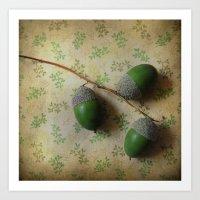 Three Acorns Art Print