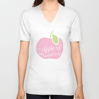 """onesie V-neck T-shirts featuring """"Apple of My Mama's Eye"""" Onesie by Spilling Beans"""