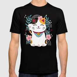 Japanese Lucky Cat with Cherry Blossoms T-shirt
