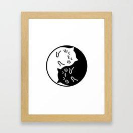 Cute cats Yin Yang sign Framed Art Print