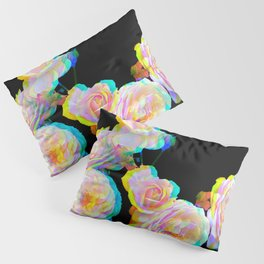 Pale Pink Roses on Black with Glitch Pillow Sham