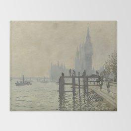 Claude Monet - The Thames Below Westminster Throw Blanket