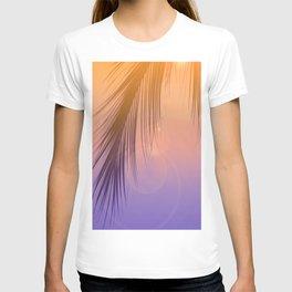 Palm Leaf Silhouette Orange Violet Background #decor #society6 #buyart T-shirt