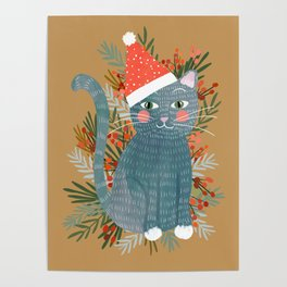 Blue Cat cute christmas xmas tree holiday funny cat art cat lady gift unique pet gifts Poster
