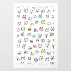 Sketchy Cats Art Print