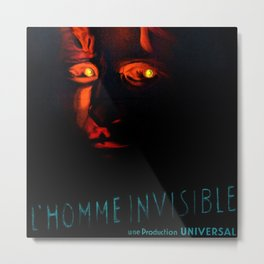 1933 Vintage 'The Invisible Man'  French Moyenne Movie Poster Metal Print