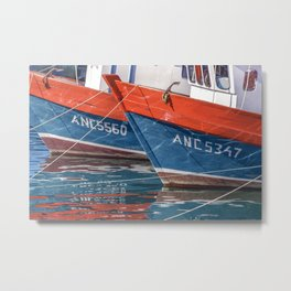 Fishing Boats Parked at Lake, Chiloe Island - Chile Metal Print