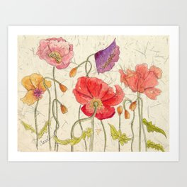 Watercolor Poppy Painting,Poppy Batik, Watercolor Batik,Poppy Watercolor, Wall Art, Floral Art, Art Print
