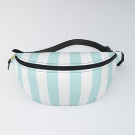 Striped- Turquoise vertikal stripes on white - Maritime Summer Beach Fanny Pack