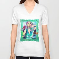 pisces V-neck T-shirts featuring Pisces by Sara Eshak