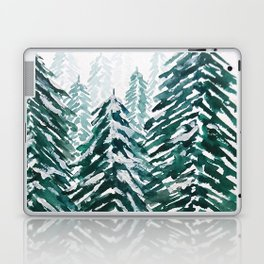 snowy pine forest in green Laptop & iPad Skin