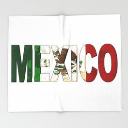 Mexico Font with Mexican Flag Throw Blanket