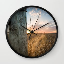 Late December - Western Scene of Fence Post and Sunset Wall Clock