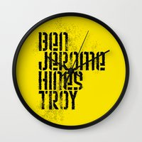 caleb troy Wall Clocks featuring Ben Jerome Hines Troy / Gold by Brian Walker