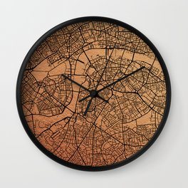 Rose gold London map Wall Clock